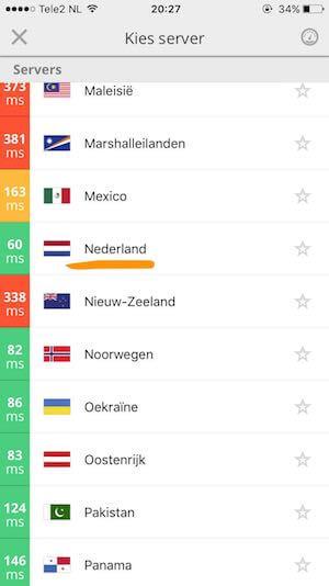 Scroll naar onderen en kies een Nederlandse server